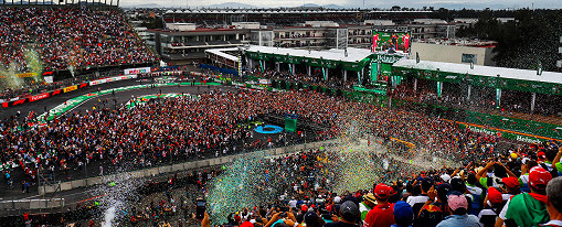 A huge crowd is gathered as confetti falls during the podium ceremony at Circuit Hermanos Rodriguez, the Mexican F1