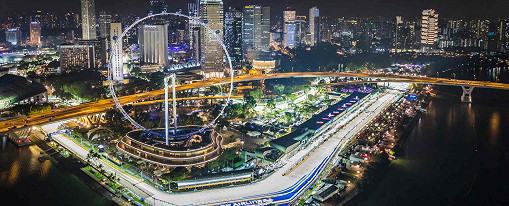 The Singapore F1 race track, Marina Bay Street Circuit, at night