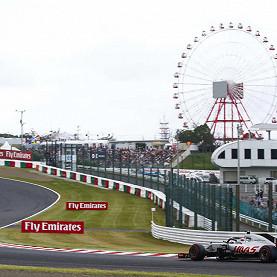 Romain Grosjean, Haas F1 Team Ferrari, follows Kevin Magnussen, Haas F1 Team Ferrari at the Suzuka International Circuit, the Japanese F1 race track