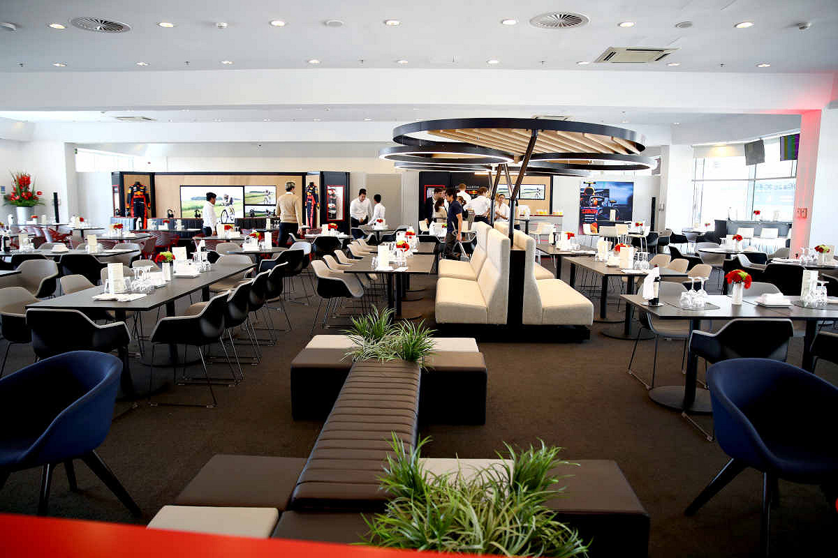 Abu dhabi aston martin red bull racing paddock club  general view of paddock club suite