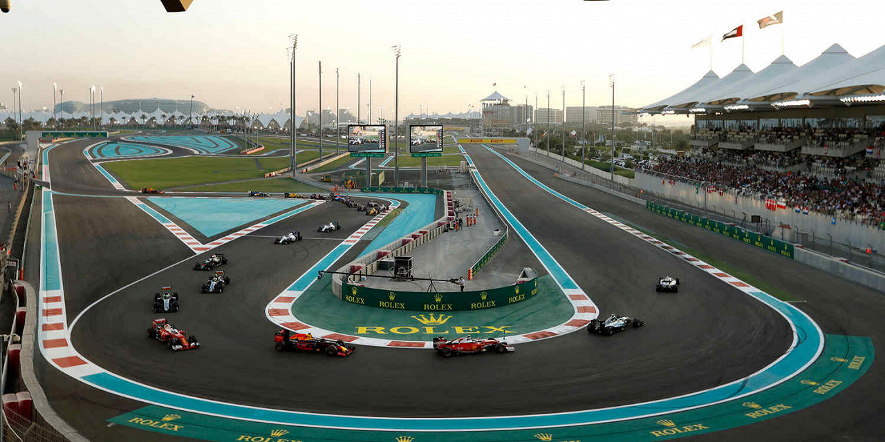 Valtteri Bottas Mercedes-Benz leads at the Start of the race at the Yas Marina Circuit, the Abu Dhabi F1 race track