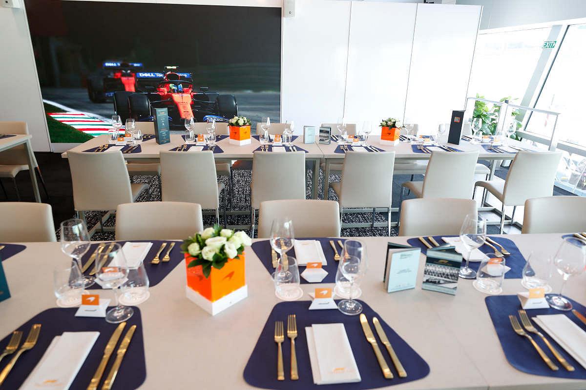 Austria mclaren f1 experience tables inside the suite