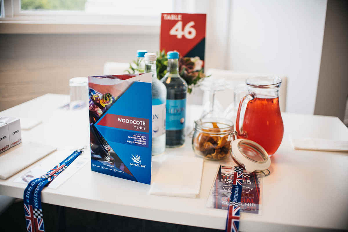 Britain hospitality chequered flag table set up