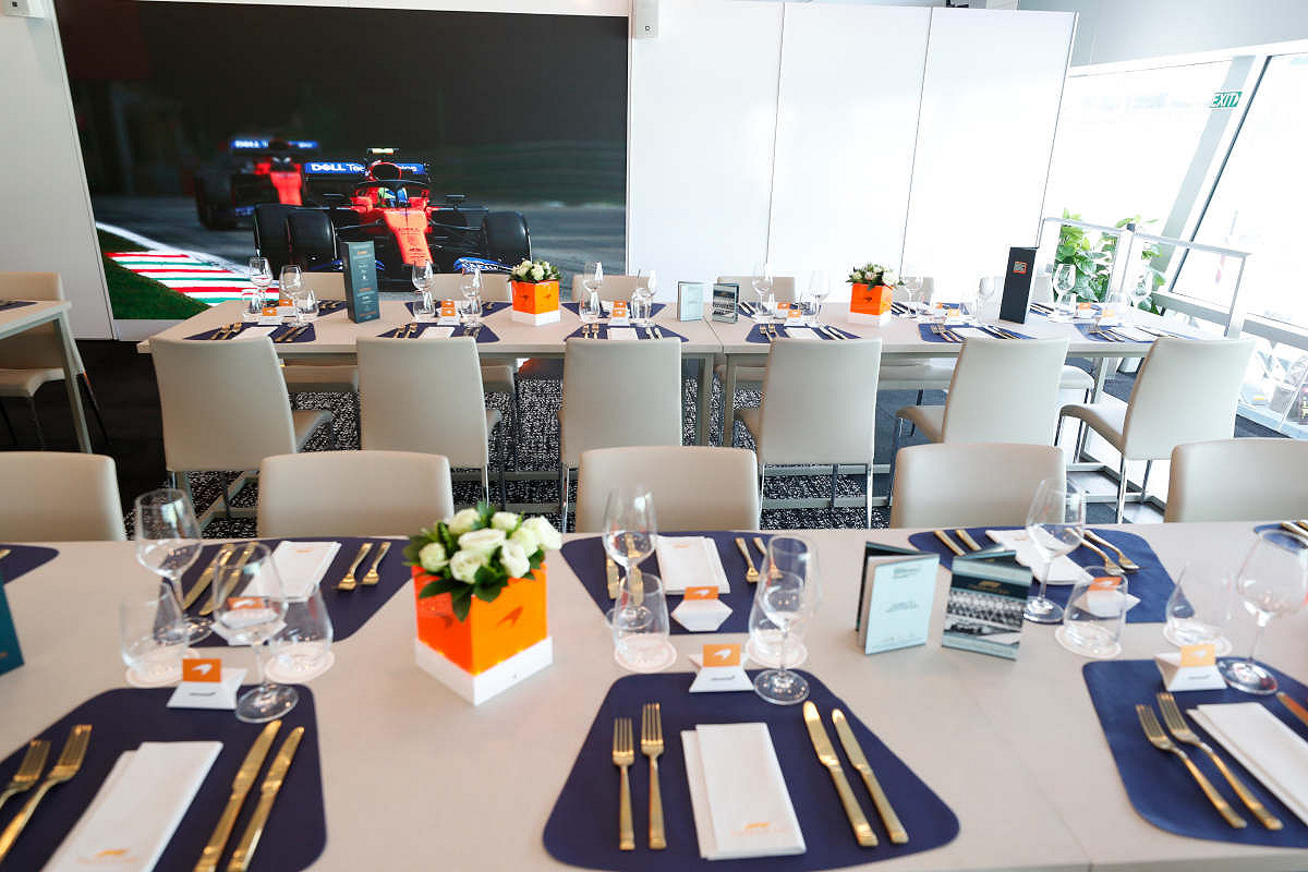 Dutch mclaren f1 experience tables inside the suite