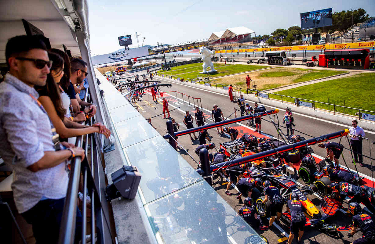 Dutch red bull racing paddock club  balcony view