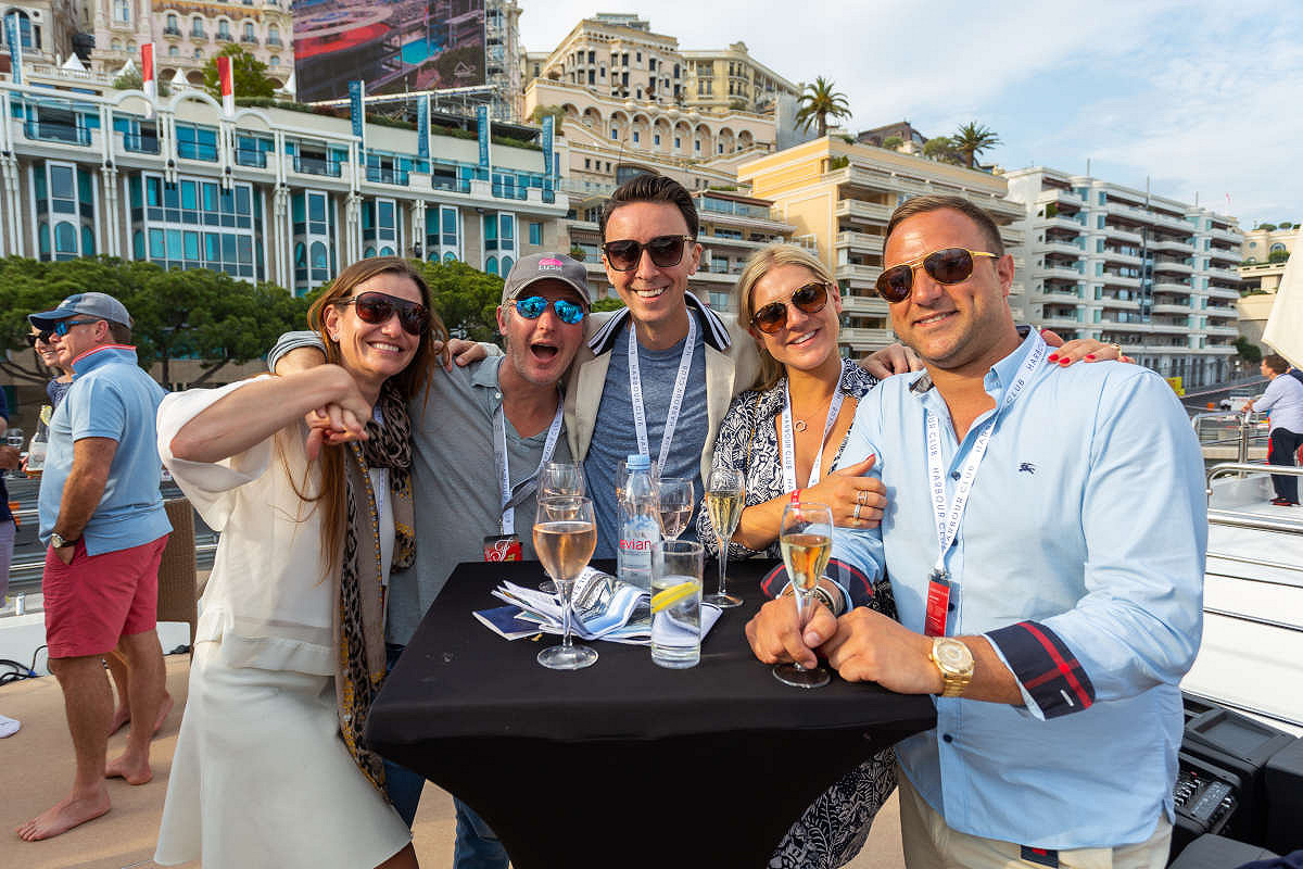 Monaco harbour club vip yacht spectators and view