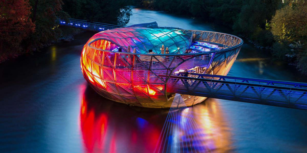 Mur Island Bridge at Night