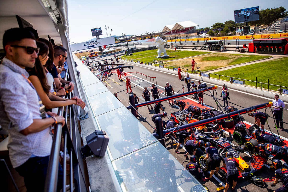 Spain aston martin red bull racing paddock club  balcony view