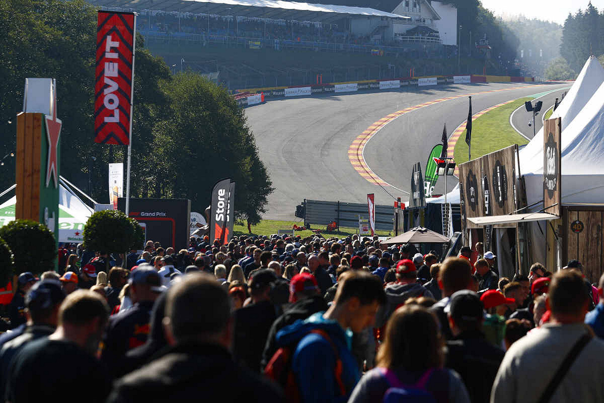 Fans flood the fan village at Circuit de Spa-Francorchamps, the Belgium F1 race track
