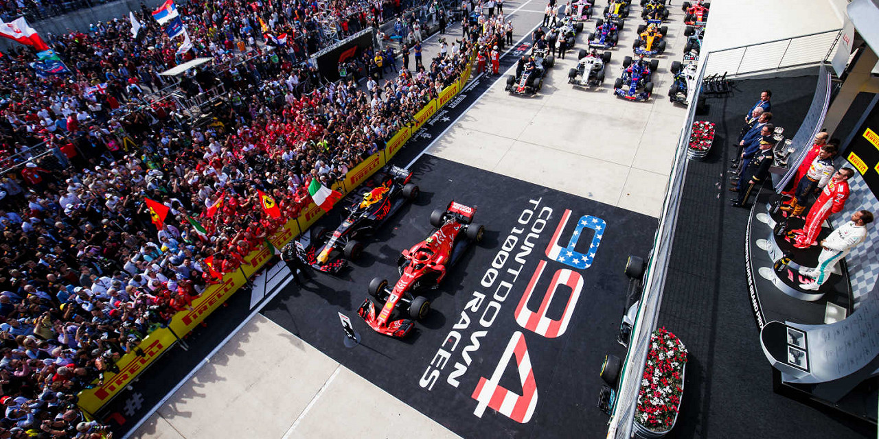 Max Verstappen Red Bull Racing, Kimi Raikkonen Ferrari, Lewis Hamilton Mercedes, on podium at Circuit of the Americas, the US F1