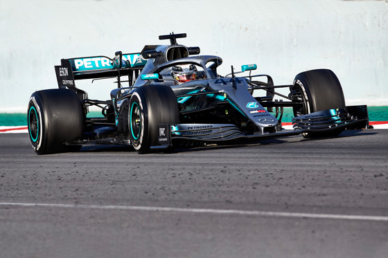 Lewis Hamilton driving a Mercedes F1 car at the Abu Dhabi Formula 1 Grand Prix